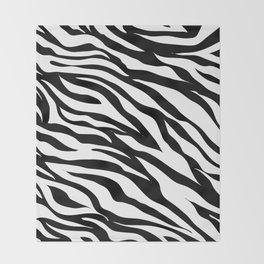 modern safari animal print black and white zebra stripes Throw Blanket