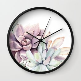 Desert Succulents on White Wall Clock
