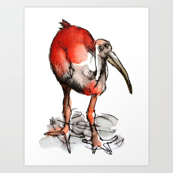 Red bird with feet in the river Art Print