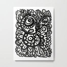 Graffiti Aztec Mystic Black and White Art by Emmanuel Signorino  Metal Print