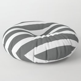 Pastel Gray Striped on Black Background Floor Pillow