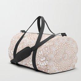 Mandala - rose gold and white marble 3 Duffle Bag