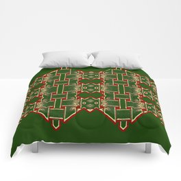 Weave on green background-2 Comforters