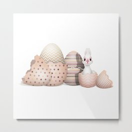 Kawaii Easter Bunny hatching from Easter Eggs Metal Print