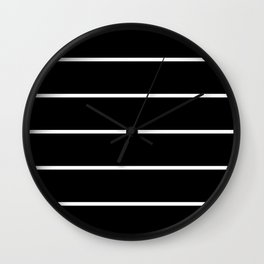 Black White Pinstripes Minimalist Wall Clock