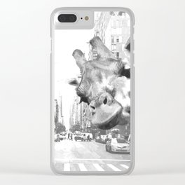 Black and White Selfie Giraffe in NYC Clear iPhone Case