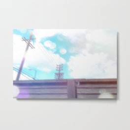 cloudy blue sky and electric pole and wood wall in the city Metal Print