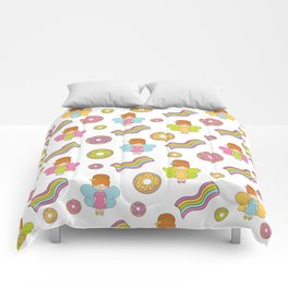 Cute fairies with donuts and rainbows. Comforters