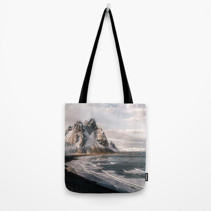 Stokksnes Icelandic Mountain Beach Sunset - Landscape Photography Tote Bag