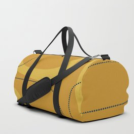 Retro Loops Minimalist Midcentury Modern Pattern in Mustard Tones with Navy Blue Accents Duffle Bag