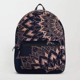 Boho rose gold floral mandala on navy blue watercolor Backpack