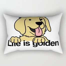 Life is golden Retriever Dog Puppy Doggie Present Rectangular Pillow