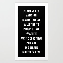 South Bay Hermosa Beach Streets - Black Art Print