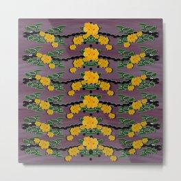 Plumeria and frangipani temple flowers ornate Metal Print