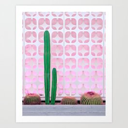 Mexican Fence Post and Barrel Cactus with Mid-Century Background Pattern Art Print