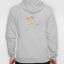 Kawaii stars pattern, face with eyes, pink green blue purple yellow Hoody