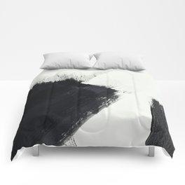 brush stroke black white painted II Comforters