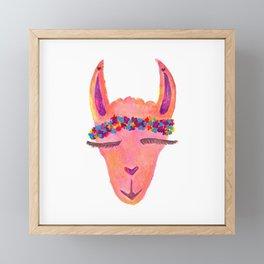 Pretty Hippie Llama Framed Mini Art Print