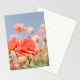 Coral Ranunculus Flowers Stationery Cards