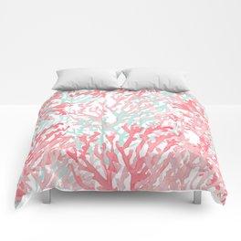 Modern hand painted coral pink teal reef coral floral Comforters