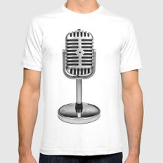 Vintage Microphone White X-LARGE Mens Fitted Tee