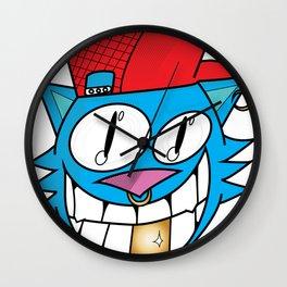 Hipster Cat Face Wall Clock