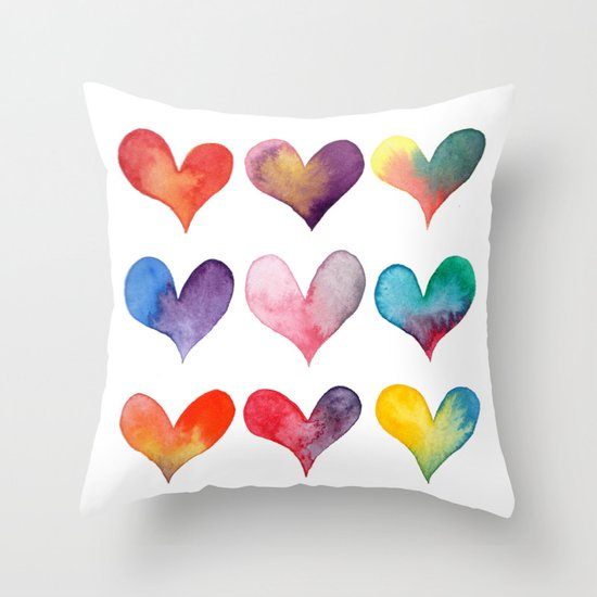 color of hearts Throw Pillow