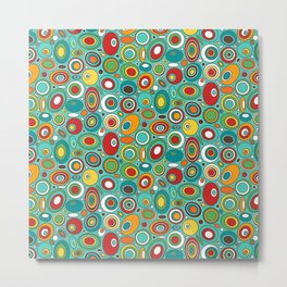 Colorful Mid Century Geometric - Ovals and Circles Metal Print