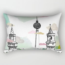 Oberbaum Brücke and TV Tower - Berlin - East/West boundary - East Side Gallery Rectangular Pillow