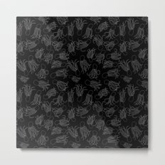 Squids (Grey on Black) Metal Print