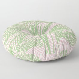 Retro Tropical Palm Trees and Geometric Square Pattern in Modern Pink and Green Floor Pillow