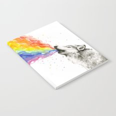 Wolf Rainbow Watercolor Howling Animal Whimsical Animals Notebook