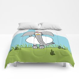 Eglantine la Poule (the hen) dressed up as an elephant Comforters