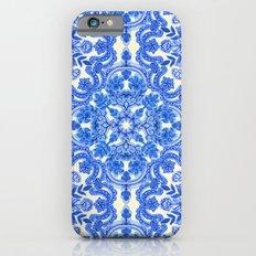 Cobalt Blue & China White Folk Art Pattern iPhone 6 Slim Case