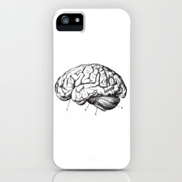 Human Brain Sideview Anatomy Detailed Illustration iPhone Case