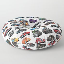 American Hot Rods, Muscle Cars, Street Rods, Pickup Trucks and Motorcycle Cartoons Floor Pillow