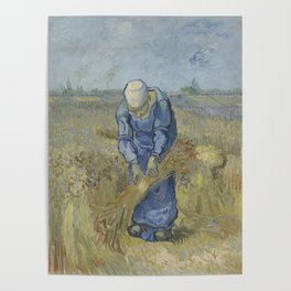 Peasant Woman Binding Sheaves (after Millet) Poster