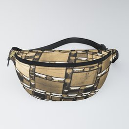 Sepia Abstract Geometric Shapes Decorative Mirror Print Fanny Pack