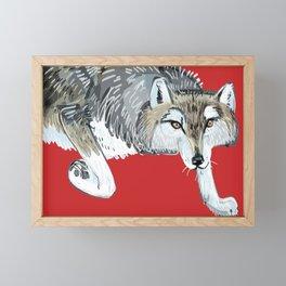 Totem Hokkaido grey wolf (Red) Framed Mini Art Print