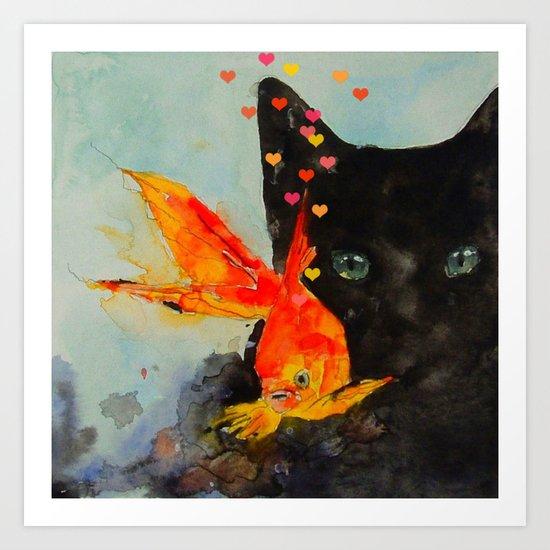 Black Cat And The Gold Fish Art Print