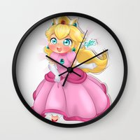 princess peach Wall Clocks featuring Princess Peach by Chimi-uzz