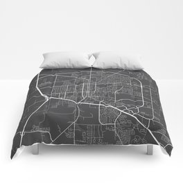 Denton Map, USA - Gray Comforters