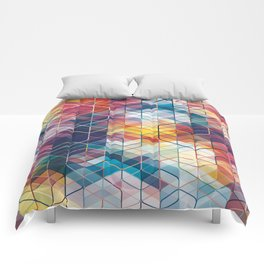 Cuben Curved #5 Geometric Art Print. Comforters