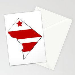 Washington DC District of Columbia Map with Flag Stationery Cards