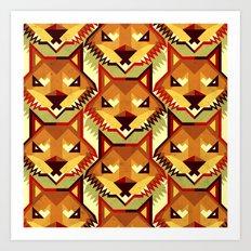 The Bold Wolf pattern Art Print