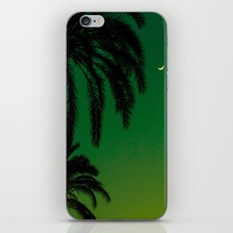 Tropical Palm Tree Silhouette Green Ombre Sunset Crescent Moon At Night iPhone Skin