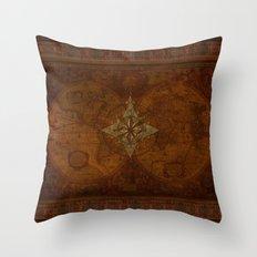 Antique Steampunk Compass Rose & Map Throw Pillow