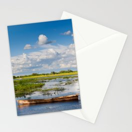 Old wooden boat in Biebrza wetland Stationery Cards
