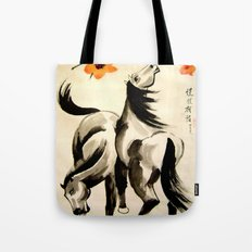 horses under floral tree Tote Bag