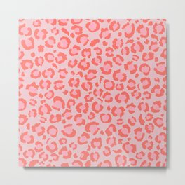 Coral Leopard Print - Living Coral design   Girly Pastel Cheetah Metal Print